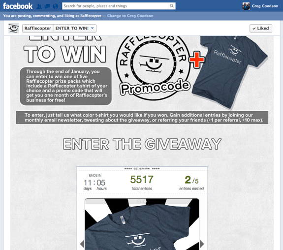 Rafflecopter Facebook T-Shirt Giveaway