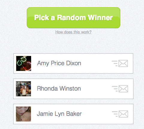 Facebook Flash Giveaway Winners