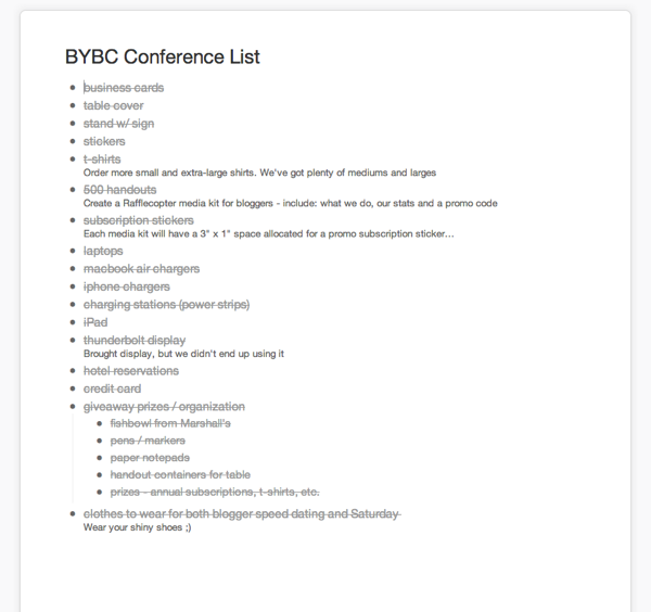 BYBC Checklist