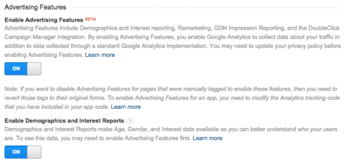 Google Analytics Advertising Features