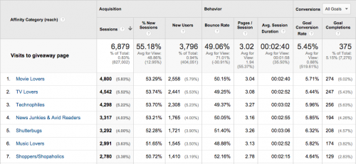 Google Analytics Affinity category