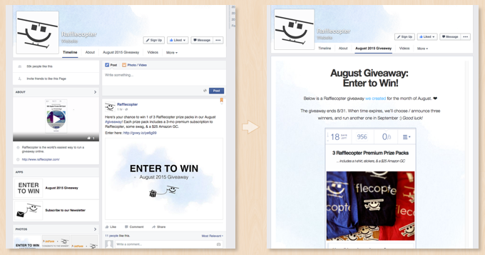 Facebook Giveaway on Desktop