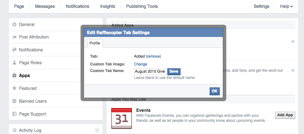 Facebook Page Tab Settings