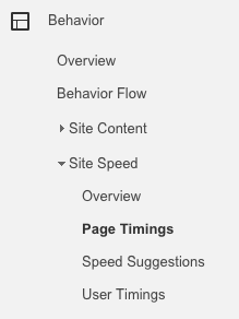 Google Analytics site speed