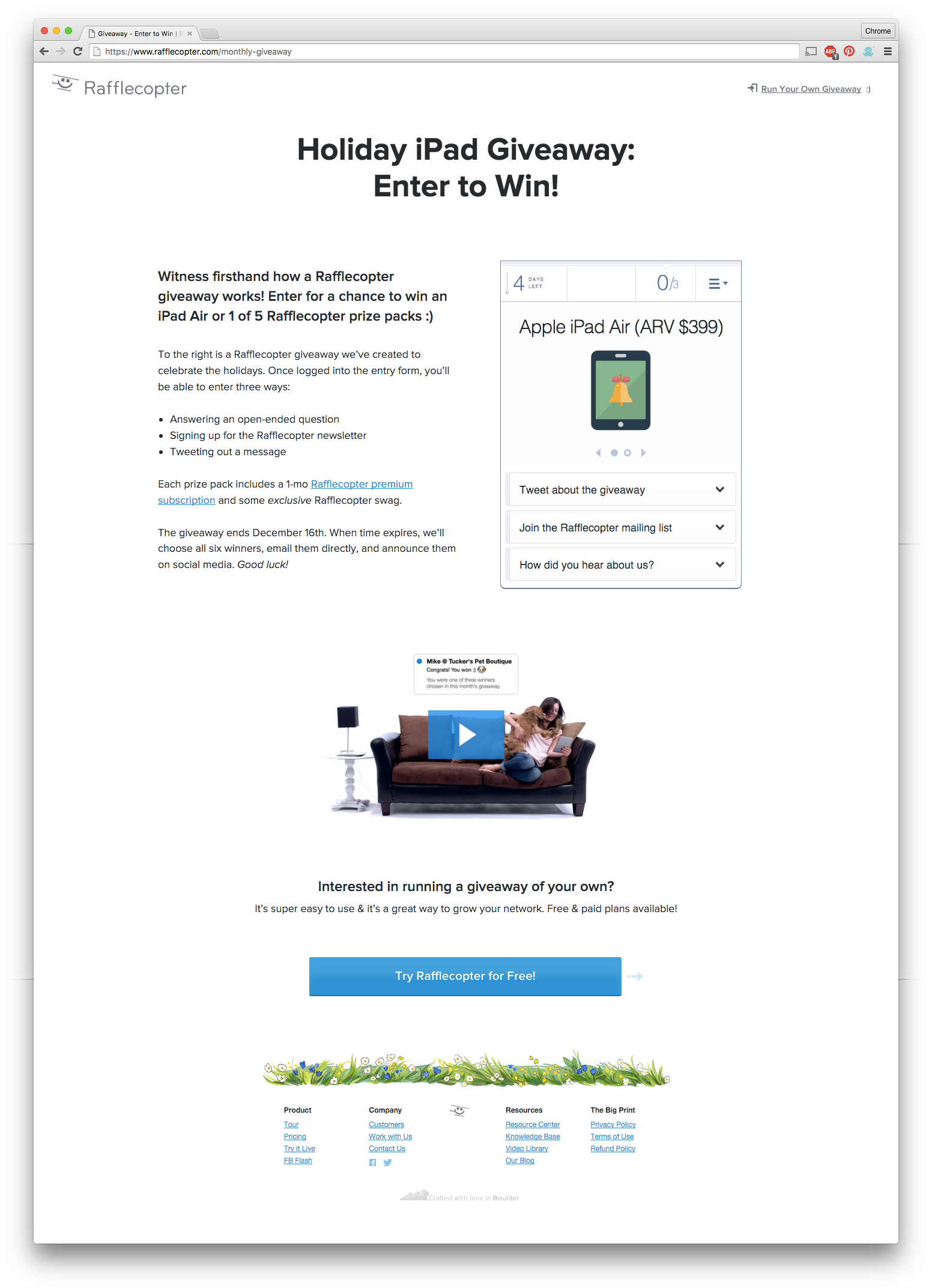 Giveaway Landing Page Screenshot