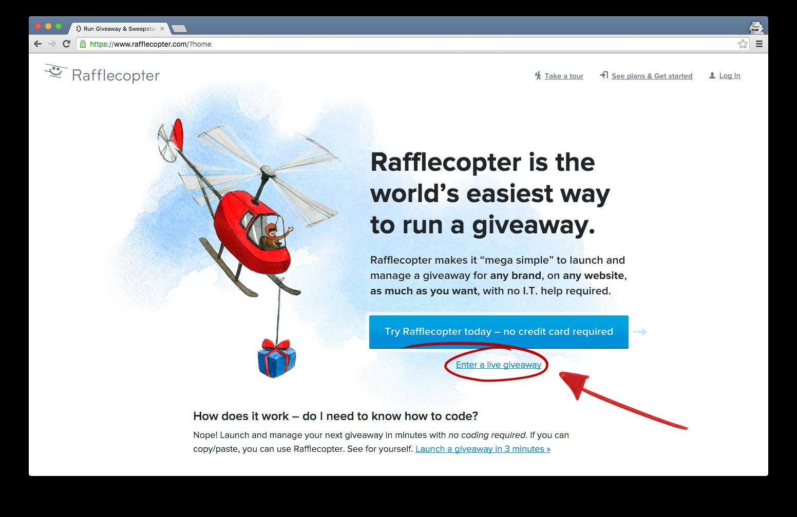 Homepage Giveaway Link