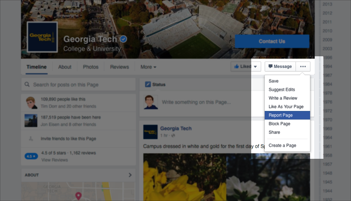 Report a Facebook Page - Step 1