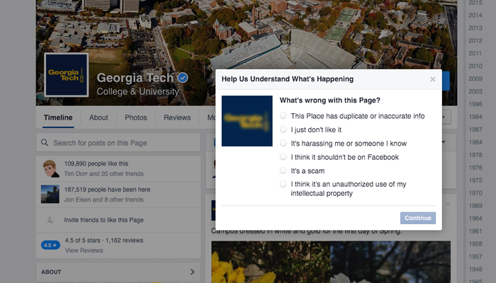 Report a Facebook Page - Step 2